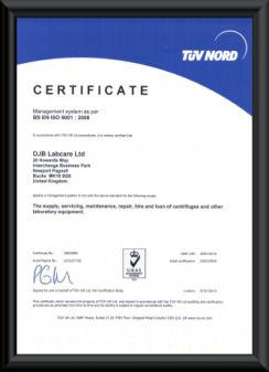 DJB Labcare Ltd ISO 9001:2008 Certificate